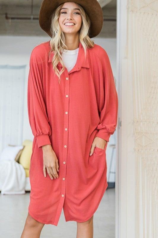 Sunset Nights Shirt Dress - Scarlet