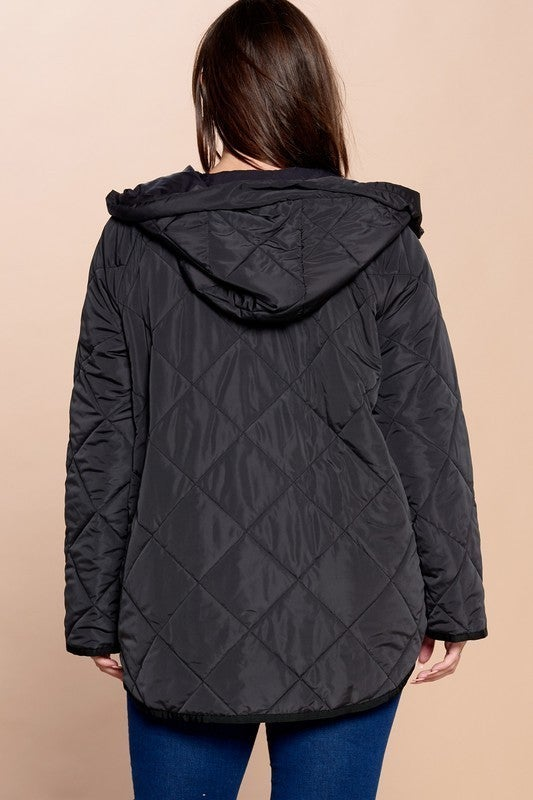 Reg/Plus Impeccably Exquisite Quilted Jacket - Black