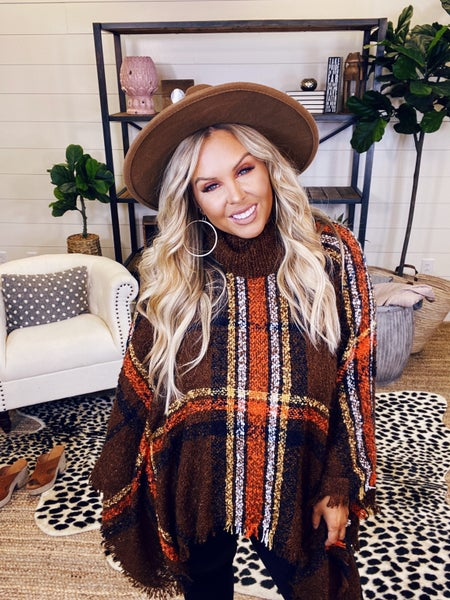 Keep Me Cozy Poncho - Brown