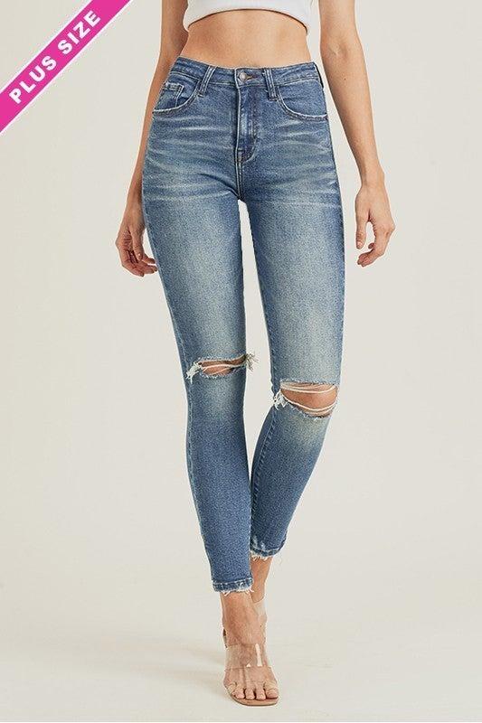 REG/PLUS That Kind Of Day Distressed Skinny Jeans-Medium
