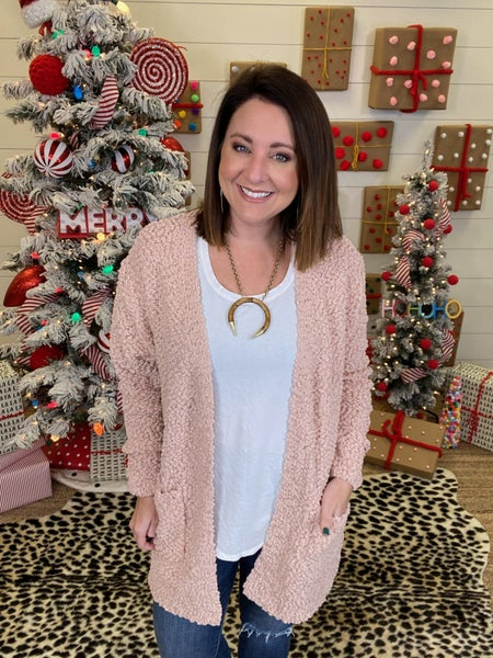 Keep On Poppin' Cardigan - Dusty Blush