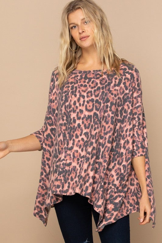 Reg/Plus Here Kitty Kitty Leopard Top - Red