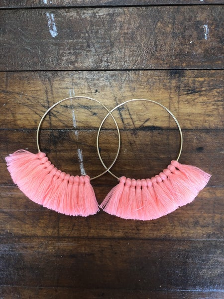 Love, Poppy Tassel Hoops - Coral