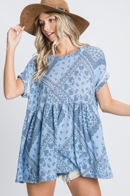 Pretty In Paisley Babydoll Top