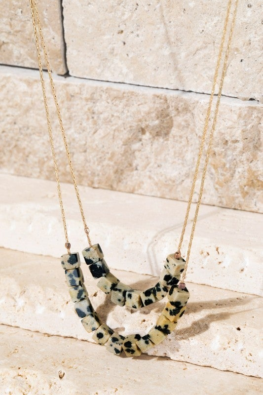Layered Stones Necklace - Dalmation