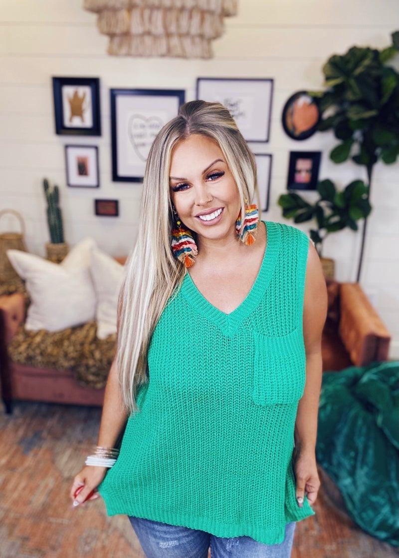 Coffee Date Sleeveless Sweater Top - Jade