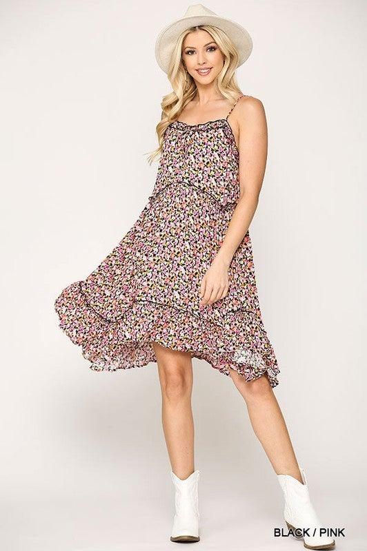 Fantastic Floral Dress - Pink/Black