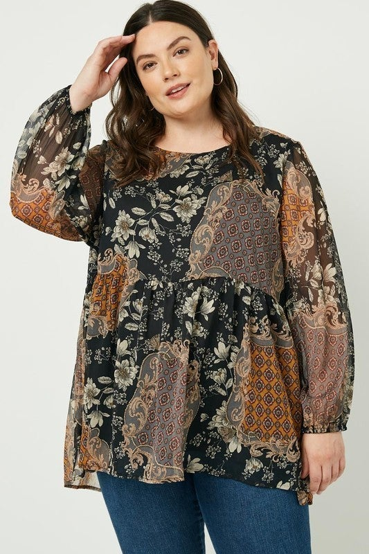 Perfectly Patched Floral Print Top