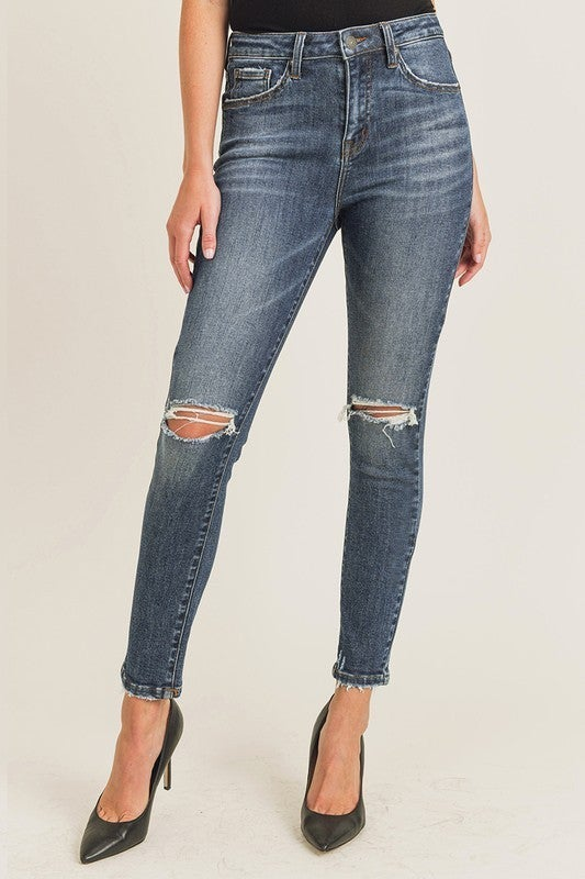 REG/PLUS That Kind Of Day Distressed Skinny Jeans - Dark