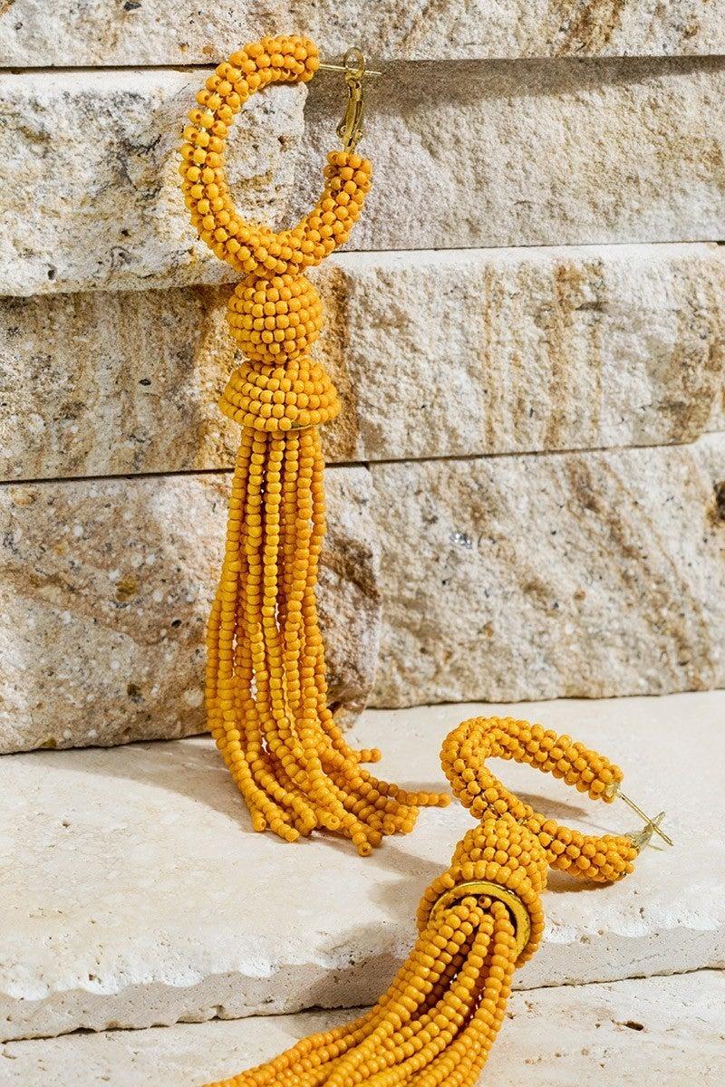 Whip And Go Tassel Earrings - Mustard