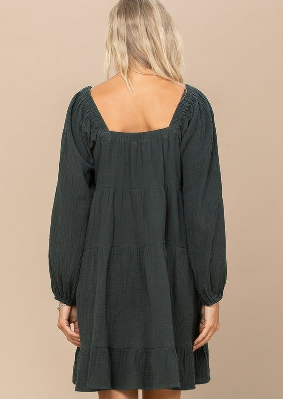 Reg/Plus Simply Luxe Babydoll Dress - Hunter Green
