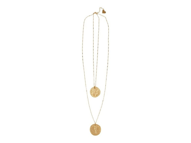 Love, Poppy 2 Layer Double Coin Necklace