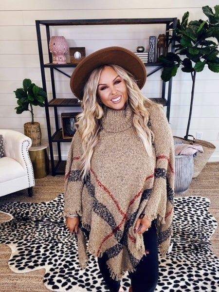 Keep Me Cozy Poncho - Khaki