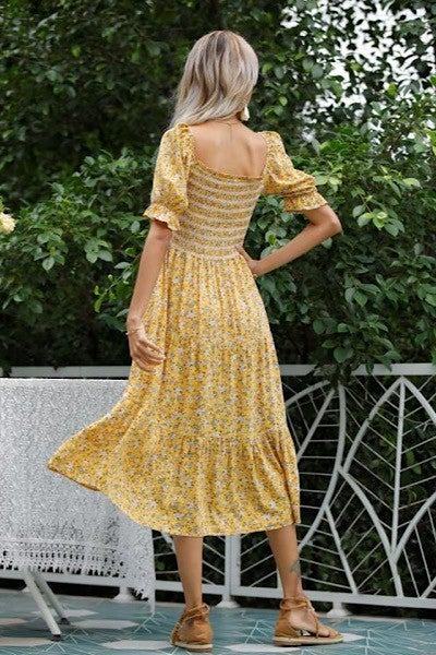 Floral Princess Dress - Yellow