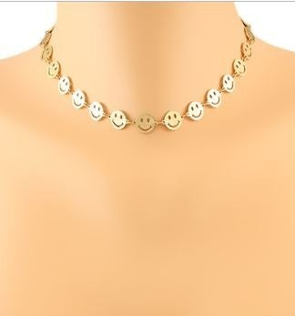 See You Smile Choker-Worn Gold