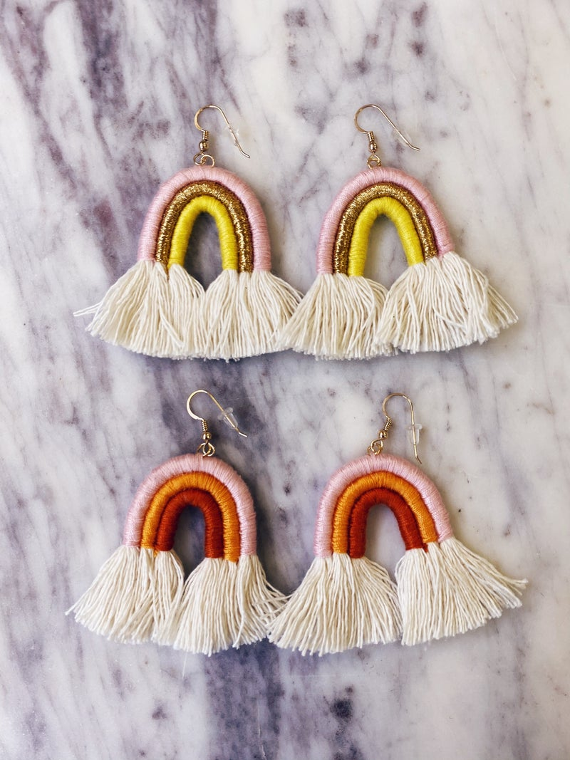 Love, Poppy Rainbow Yarn Earrings
