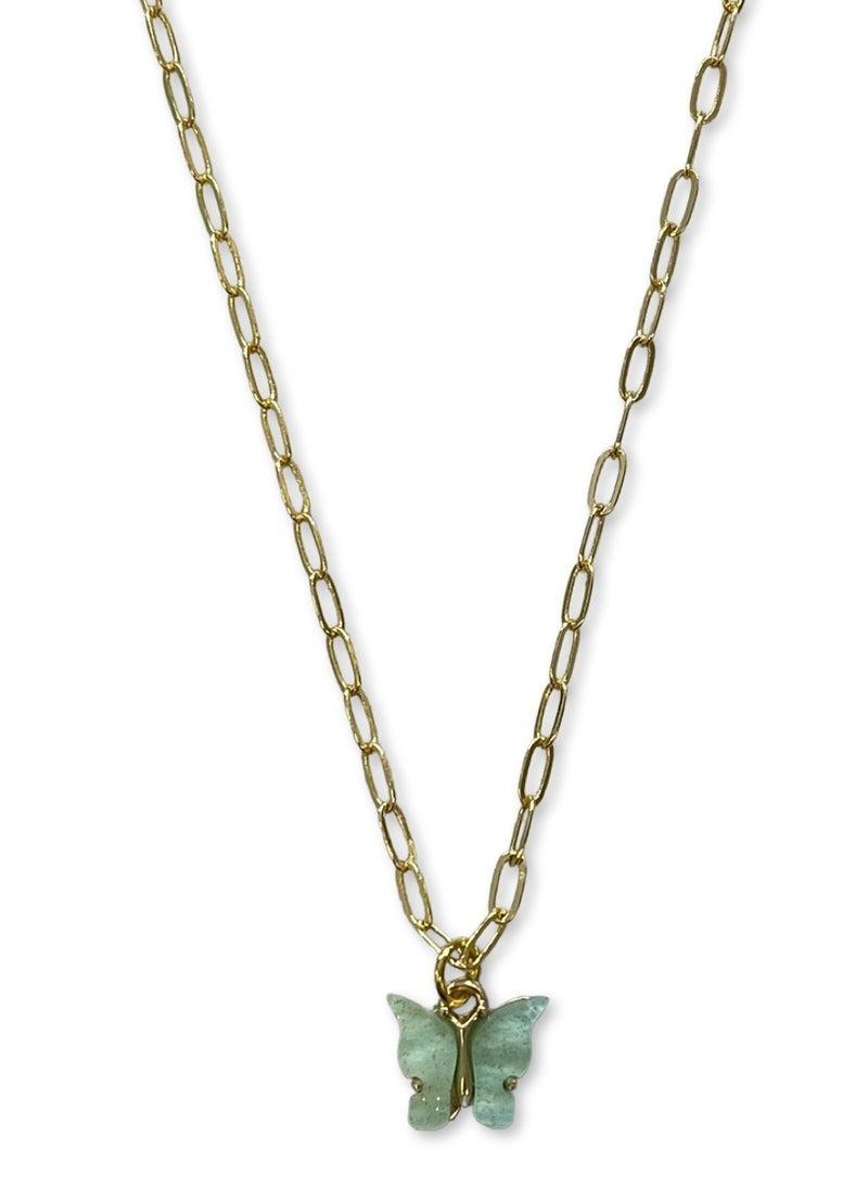Jennifer Thames Acrylic Butterfly Necklace - Aqua