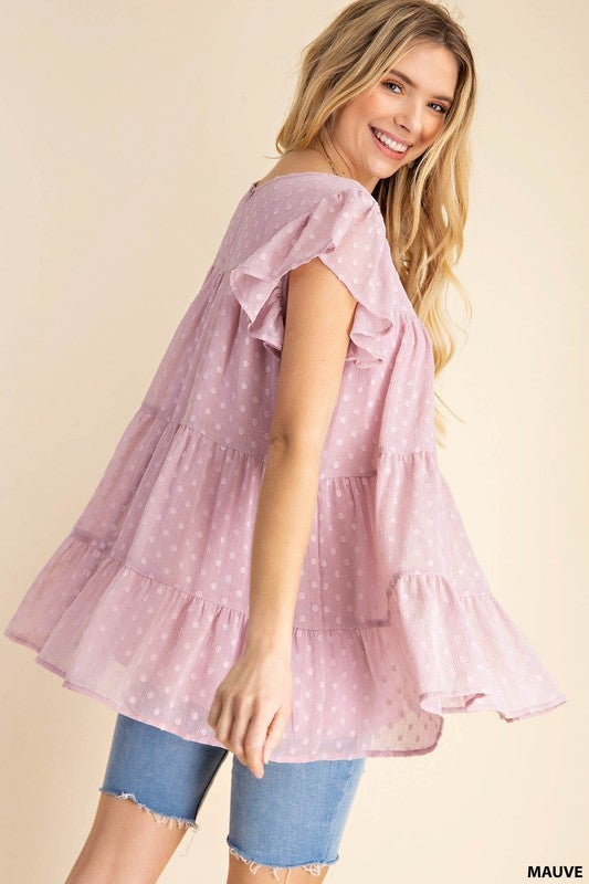 Let's Talk About It Tiered Top-Mauve