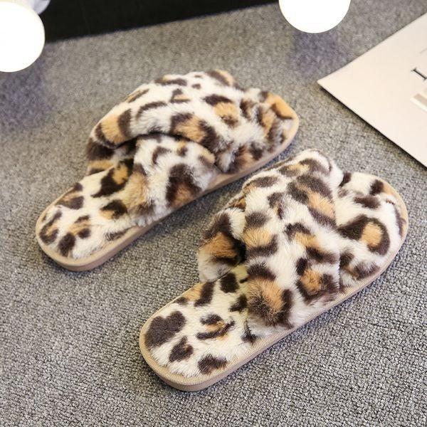 Lush Leopard Slippers - Beige