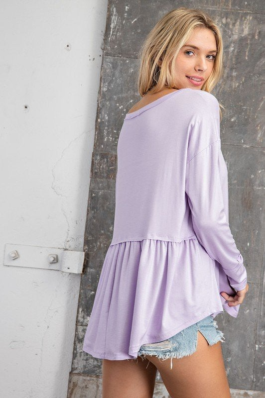 Life Is Living Baby Doll Top-Lilac