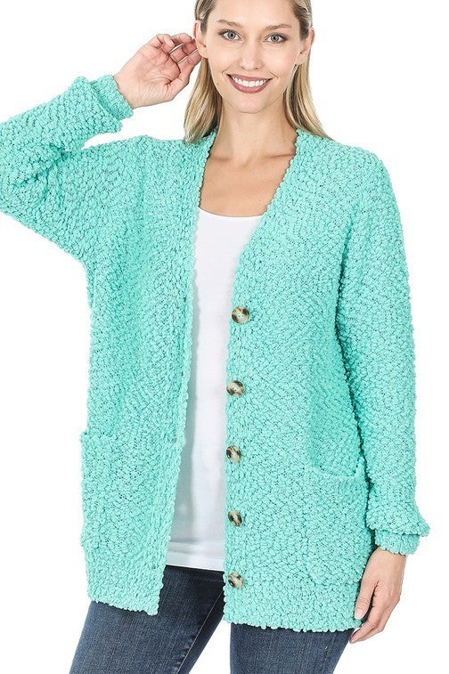 Reg/Plus Jumping Into Comfort Cardigan - Mint