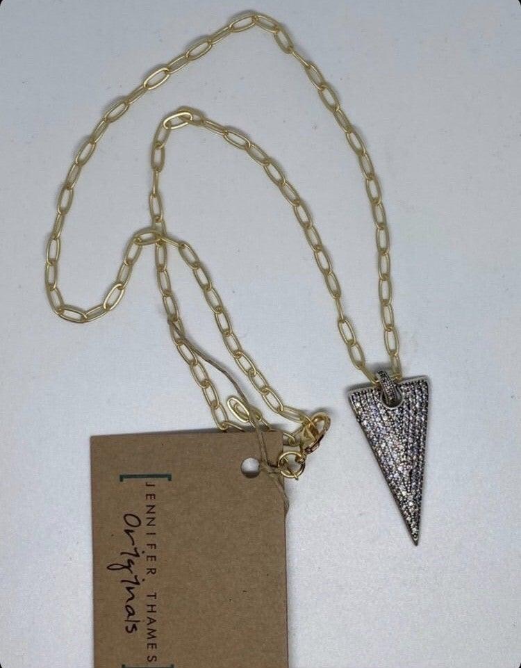 Jennifer Thames Gunmetal Dagger Necklace