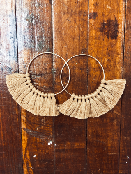 Love, poppy Tassel Hoops - Tan