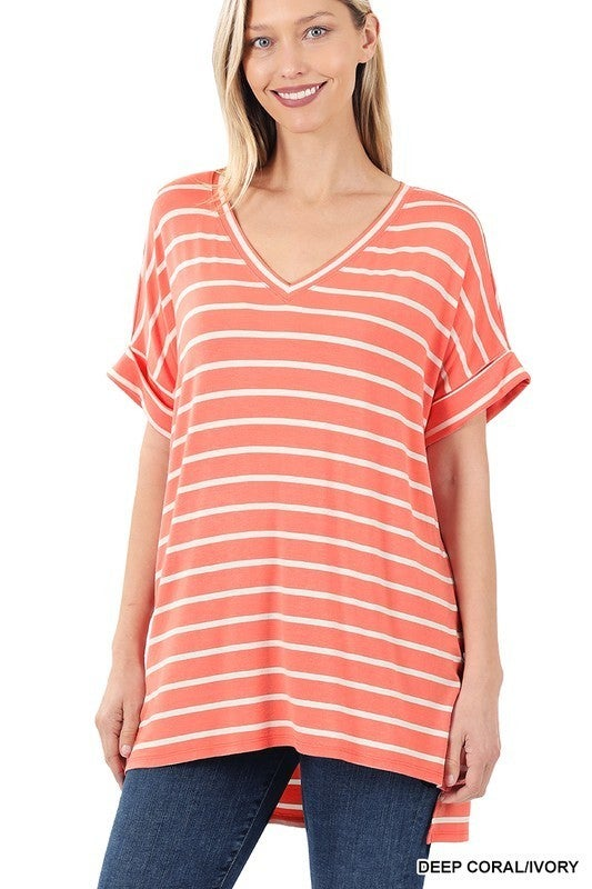 Fun With Fashion Top - Deep Coral/Ivory