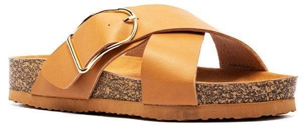Beach Beauty Slide Sandals - Tan