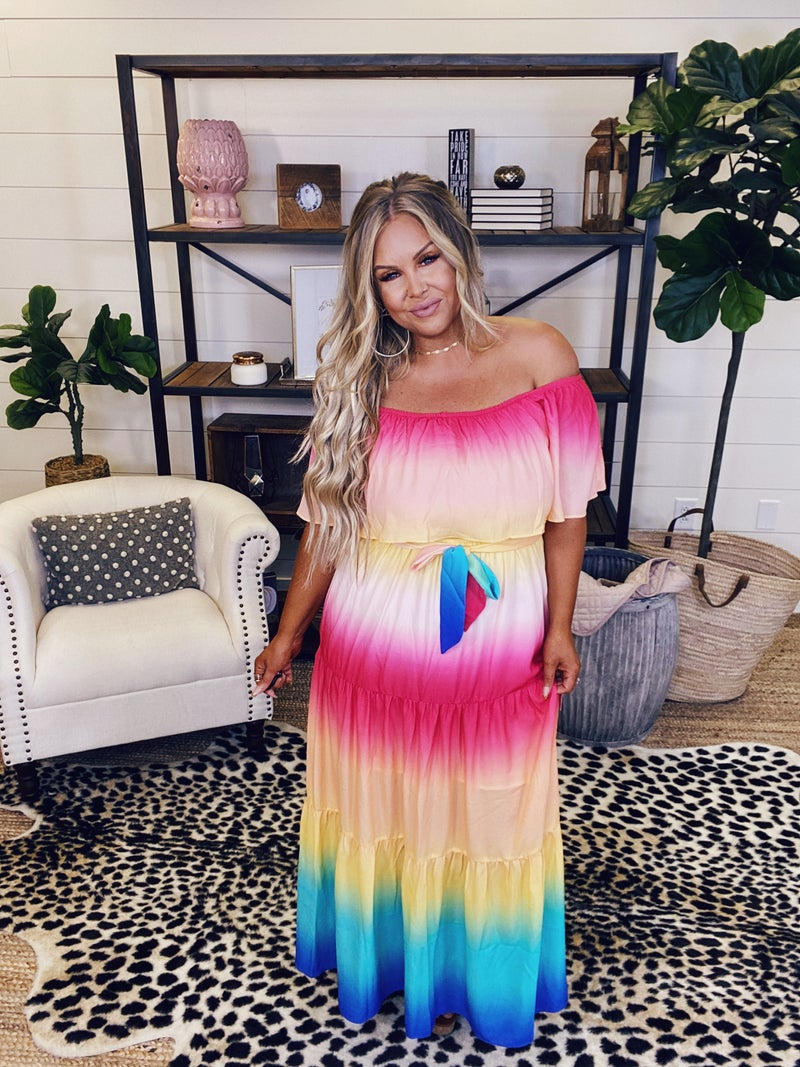 Over The Rainbow Ombre Maxi Dress