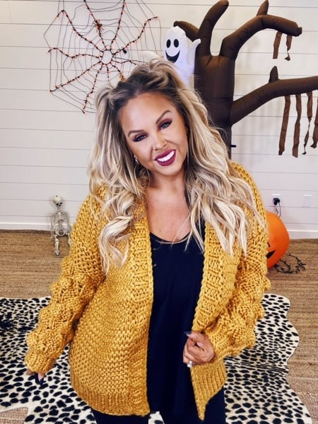 Perfect Puffs Knitted Cardigan - Mustard