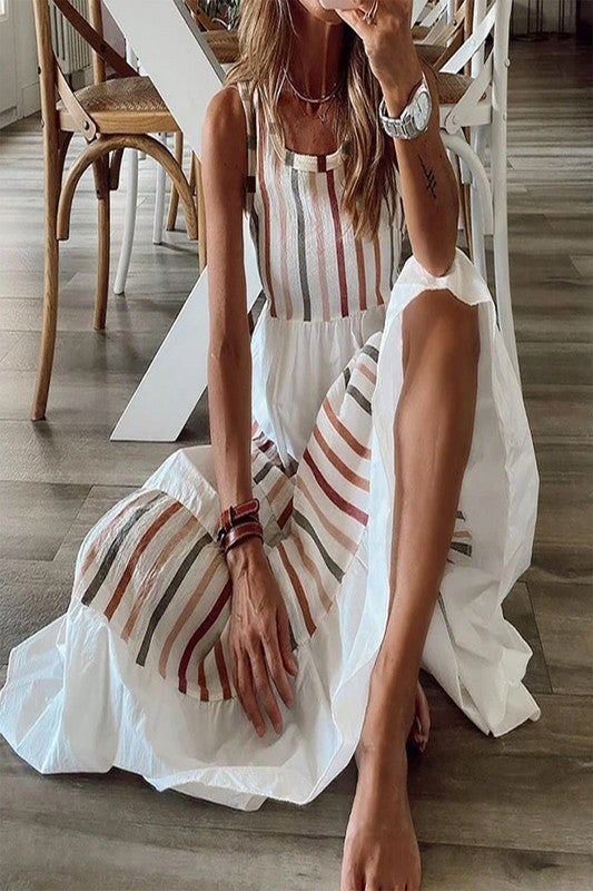 Casual Fun Striped Dress - White
