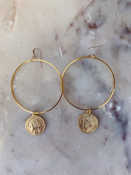 Love, Poppy Coin on a Hoop Earrings