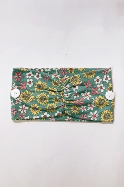 Button Headband - Floral