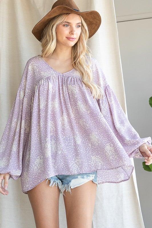Charming Peasant Top - Lavender
