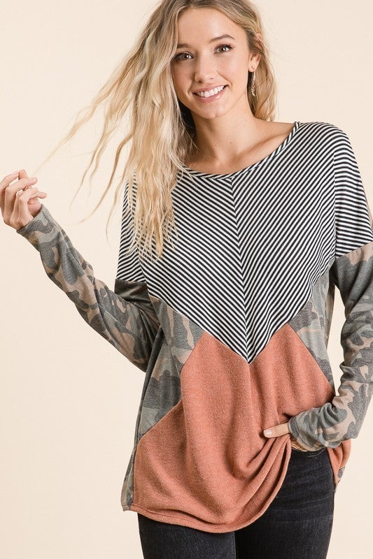 Comfortable Camo Block Top