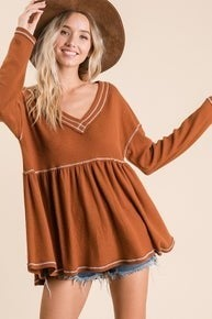 Stitched Perfection Top - Brown