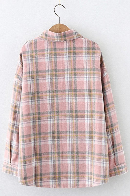 Fun In Flannel Plaid Shirt - Pink/Yellow