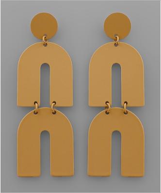 Double The Fun Arch Earrings - Mustard