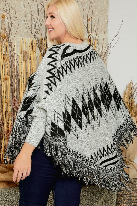 Count Me In Argyle Poncho