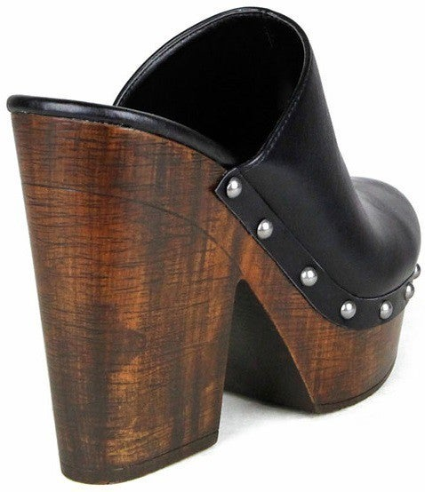 A Night Out Wooden Heeled Mules (Size up)