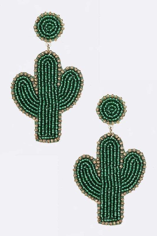 Desert Life Beaded Cactus Earrings - Green