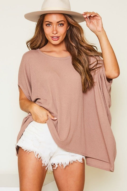 All Things Lovely Poncho Top - Mocha