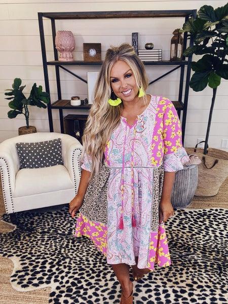 Reg/Plus Paisley for Days Dress - Pink Combo