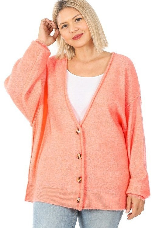 Reg/Plus Spring Into Beauty Cardigan - Coral