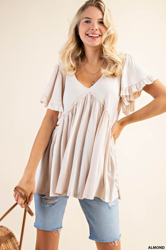 Everything Is Alright Bell Sleeve Top  - Almond