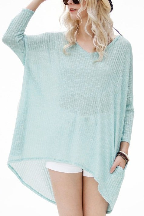 Something Good V-Neck Top - Seafoam