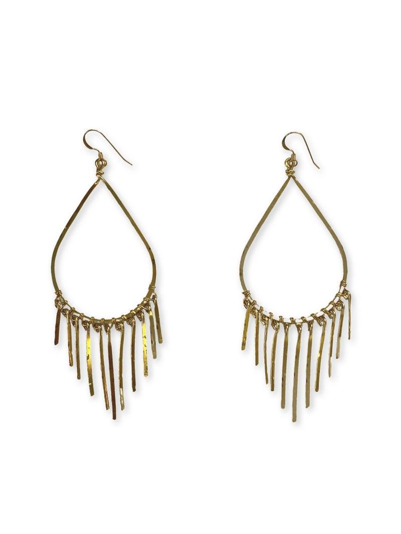Love, Poppy Teardrop Fringe Earring - Gold