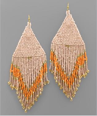 Tantalizing Tassels Beaded Earrings - Light Peach