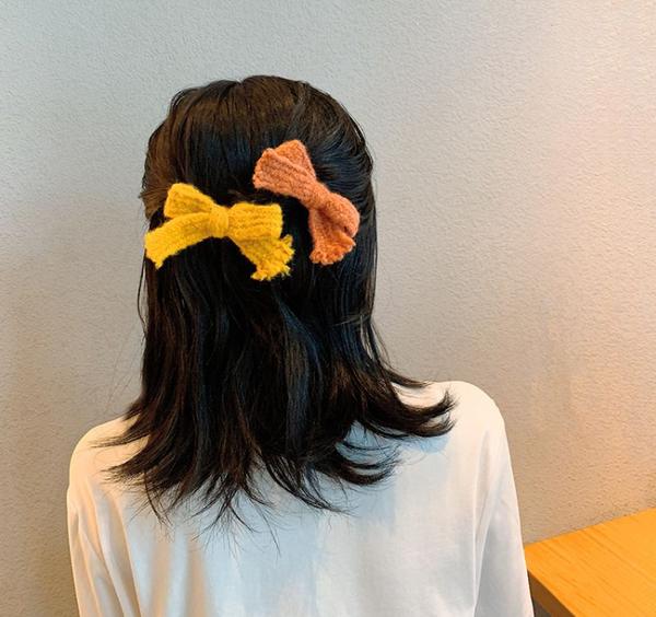 Beautiful Wool Bow Hairpin  - Orange